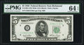 Small Size, Fr. 1961-E $5 1950 Wide I Federal Reserve Note. PMG Choice Uncirculated 64 EPQ.. ...