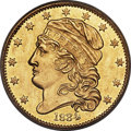 Early Half Eagles, 1834 $5 With Motto, Crosslet 4, BD-2, R.5, MS61 PCGS....