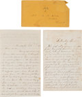 Political:Small Paper (pre-1896), Abraham Lincoln: Assassination and Secession Crisis Letters....(Total: 2 Items)