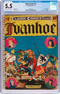 Classic Comics #2 Ivanhoe - First Edition (Gilberton, 1941) CGC FN- 5.5 Off-white to white pages