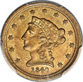 Liberty Quarter Eagles, 1840-C $2 1/2 AU58 PCGS. CAC. Variety 1....