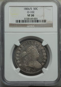 Early Half Dollars, 1806/5 50C O-102, T-7, High R.3, VF30 NGC. NGC Census: (4/6). PCGSPopulation: (2/9). ...