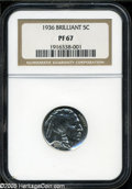 """Proof Buffalo Nickels: , 1936 5C Type Two--Brilliant Finish PR 67 NGC. The current CoinDealer Newsletter (Greysheet) wholesale """"bid"""" price is $2680.0..."""