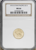 Commemorative Gold: , 1915-S $2 1/2 Panama-Pacific Quarter Eagle MS66 NGC. NGC Census:(470/103). PCGS Population (393/19). Mintage: 6,749. Numis...