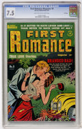 Golden Age (1938-1955):Romance, First Romance #8 File Copy (Harvey, 1951) CGC VF- 7.5 Light tan tooff-white pages....