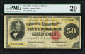 Large Size:Gold Certificates, Fr. 1195 $50 1882 Gold Certificate PMG Very Fine 20.. ...