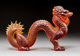 Lalique Large Amber Glass Dragon Post-1945. Engraved Lalique, France Ht. 7-1/2 in. x Wd. 11-1/4 in