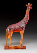 Art Glass:Daum, Daum Amber Pate-de-Verre Glass Giraffe Figure. Late 20thcentury. Engraved Daum, France, 265. Ht. 15-1/8 in....