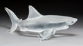 Art Glass:Lalique, Large Lalique Clear and Frosted Glass Shark Figure.Post-1945. Engraved Lalique, France. Ht. 6-1/2 x Wd. 16-...