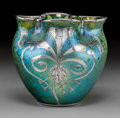 Art Glass:Loetz, Loetz Iridescent Glass Vase with Silver Overlay