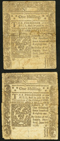 Colonial Notes, Connecticut June 7, 1776 1s Fine Two Examples.. ... (Total: 2notes)
