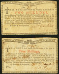 Colonial Notes, New York January 6, 1776 (Water Works) 2s VF;. New York January 6,1776 (Water Works) 4s VF.. ... (Total: 2 notes)