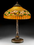 Art Glass:Tiffany , Tiffany Studios Leaded Glass and Bronze Banded Dogwood TableLamp. Circa 1915. Shade stamped TIFFANY STVDIOS N... (Total: 2Items)