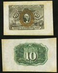 Fractional Currency:Second Issue, Fr. 1244SP 10¢ Second Issue Wide Margin Pair Extremely Fine-About New.. ... (Total: 2 notes)