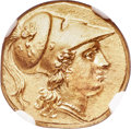 Ancients:Greek, Ancients: SICILY. Syracuse. Agathocles (317-289 BC). AV stater, octobol or double-decadrachm (16mm, 5.67 gm, 5h). NGC MS ★ 5/5 - 5...