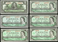 Canadian Currency, Fifteen Assorted Canadian Notes Totaling $63 in Face Value.. ... (Total: 15 notes)