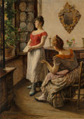 Paintings, Sylvius D. Paoletti (Italian, 1864-1921). Sharing the News . Oil on canvas. 36 x 26-1/4 inches (91.4 x 66.7 cm). Signed ...