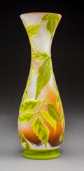 Art Glass:Galle, Gallé Overlay Glass Maple Seed Vase. Circa 1900. CameoGallé . Ht. 13-1/4 in.. ...