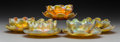 Art Glass:Tiffany , Set of Five Tiffany Studios Gold Favrile Glass Bowls with FiveUnderplates. Circa 1910. Engraved L.C.T. Di. 6 in. (appro...(Total: 10 Items)