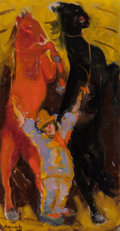 Paintings, Mané-Katz (Ukrainian/French, 1894-1962). Circus horses. Oil on canvas. 29-5/8 x 15-1/2 inches (75.2 x 39.4 cm). Signed l...
