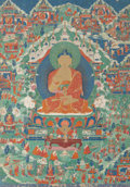 Asian:Other, A Large Tibetan Thangka Depicting Seated Shakyamuni Buddha andAssociated Deities with Worshippers, 18th century. 50 inches ...