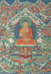 A Large and Fine Tibetan Thangka Depicting Seated Shakyamuni, 18th century 50 inches high x 35-1/4 inches wide (12