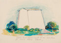 Fine Art - Work on Paper:Watercolor, Robert Arneson (American, 1930-1992). Sketch for a Monument tobe erected at 1303 Alice Street. Watercolor on paper. 18-...