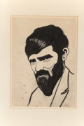 Fine Art - Work on Paper:Drawing, Knud Merrild (Danish, 1894-1954). Portrait of D.H. Lawrence.Ink on paper. 7-5/8 x 5-3/8 inches (19.4 x 13.7 cm). Initia...