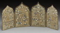 Decorative Arts, Continental:Other , A Greek Orthodox Enameled Bronze Four-Part Shrine. 6-7/8 incheshigh x 16-1/4 inches wide (17.5 x 41.3 cm). ...