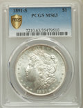 Morgan Dollars, 1891-S $1 MS63 PCGS Secure. PCGS Population: (3280/2956). NGC Census: (2207/1702). CDN: $120 Whsle. Bid for problem-free NG...
