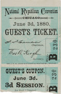 Political:Small Paper (pre-1896), James A. Garfield: National Convention Ticket....
