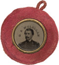 Political:Ferrotypes / Photo Badges (pre-1896), George M. McClellan: Back-to-Back Ferrotype with Rose Plush Border....