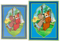 Animation Art:Concept Art, Yogi Bear and Cindy Bear Cel and Cloth Print (Hanna-Barbera, c.1980s-90s).... (Total: 2 Items)