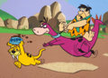 Animation Art:Presentation Cel, The Flintstones Fred, Dino, and Baby Puss ConsumerProducts/Publicity Cel (Hanna-Barbera, c. 1980s-90s)....
