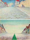 Animation Art:Painted cel background, The Green Line Painted Background (Terrytoons, 1944)....(Total: 2 Original Art)