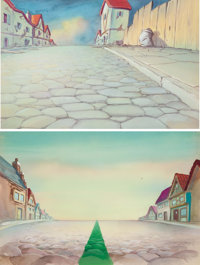 The Green Line Painted Background (Terrytoons, 1944).... (Total: 2 Original Art)