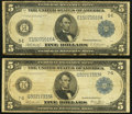 Large Size:Federal Reserve Notes, Fr. 862 $5 1914 Federal Reserve Note Very Good;. Fr. 869 $5 1914 Federal Reserve Note Very Good.. ... (Total: 2 notes)