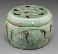 Asian:Chinese, An Important Chinese Tobi Seiji-Decorated and Molded Longquan Celadon Dragon and Peonies Covered Box, Yuan Dynas...