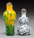 Asian:Chinese, Two Chinese Glass Overlay Snuff Bottles. 3-3/4 inches high (9.5 cm)(tallest). ... (Total: 2 Items)