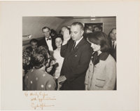 Lyndon B. Johnson: Signed Iconic Air Force One Swearing-In Photograph