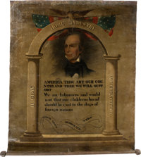Henry Clay: A Spectacular Hand-Painted Banner from the 1844 Campaign