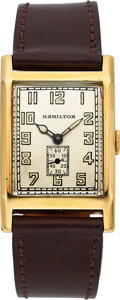 "Timepieces:Wristwatch, Hamilton Extremely Rare ""Wilkinson"" 14k Gold Explorer Series Watch, circa 1930. ..."