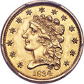 Classic Quarter Eagles, 1834 $2 1/2 MS62 PCGS Secure. Variety 2....