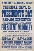 Political:Posters & Broadsides (1896-present), William McKinley: Graphic and Rare Pan American Exposition Broadside. ...