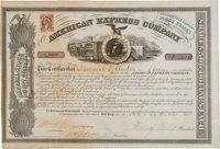 Henry Wells and William Fargo: Signed American Express Stock Certificate