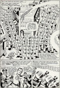 Original Comic Art:Panel Pages, Jack Kirby and George Roussos (as Geo. Bell) Fantastic Four#24 Story Page 6 Original Art (Marvel, 1964)....