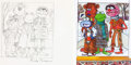 Animation Art:Production Drawing, Kermit the Frog, Fozzie Bear, Gonzo, and Animal Original, SignedSesame Street Children's Book Concept Sketch (Jim...