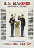"""Military & Patriotic:WWI, Marine Corps Recruiting Poster """"Soldiers of the Sea"""". 27"""" x 36.75"""",framed and matted under glass to an overall size of 35.7..."""