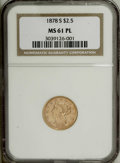 Liberty Quarter Eagles: , 1878-S $2 1/2 MS61 Prooflike NGC. A pinpoint-sharp and flashyquarter eagle that has the overall look of a finer grade. Pap...
