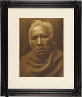 "Photography:Official Photos, Edward S. Curtis Original Portfolio Photogravure ""Captain Charley -Maricopa"" Plate 71 on Japanese Rice Tissue mounted on ve..."